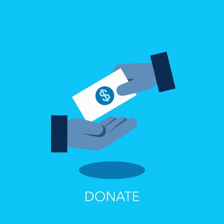 Simple flat symbol for donate charity finance and grant with two hands and a bank note. Easy to use for your website or presentation. Ilustração