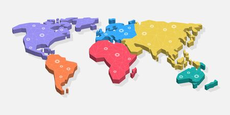 Modern 3D World Map Symbol with colored continents. Easy to use for your website or presentation. Ilustracja