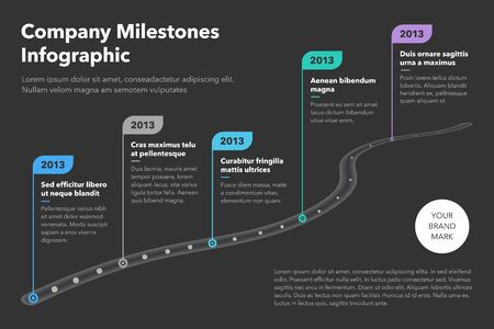 Modern business infographic for curved road map timeline template with pointers - dark version. Easy to use for your website or presentation.