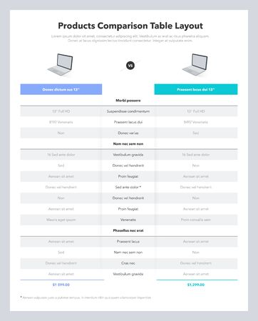 Two products comparison table layout with place for description. Modern flat design template for website or presentation.