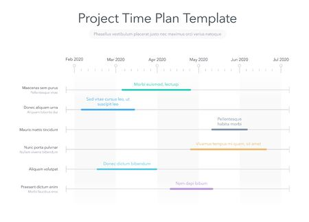 Minimalist business project time plan with project tasks in time intervals. Easy to use for your website or presentation.