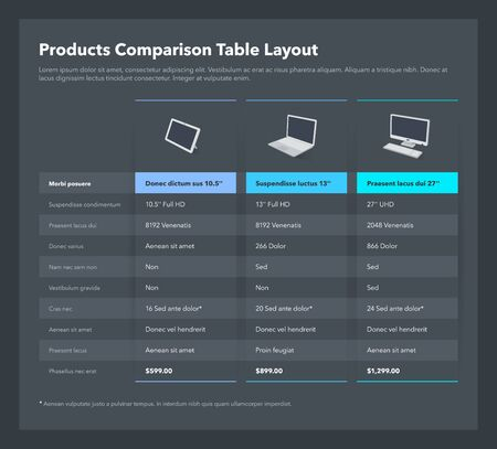 Products comparison table layout with place for description - dark version. Flat infographic design template for website or presentation.