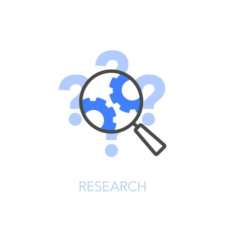 Research symbol with magnifier, gears and question marks. Easy to use for your website or presentation.