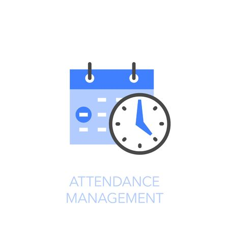 Attendance management symbol with calendar and clock. Easy to use for your website or presentation.