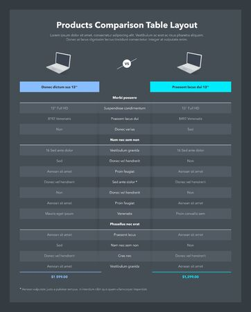 Two products comparison table layout with place for description - dark version. Modern flat infographic design template for website or presentation. 向量圖像
