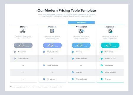 Conception de table de tarification d'aspect moderne avec quatre plans d'abonnement. Modèle de conception infographique plat pour site Web ou présentation.
