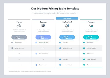 Modern looking pricing table design with four subscription plans. Flat infographic design template for website or presentation.