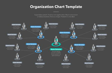 Modern simple company hierarchy template with place for your content - dark version. Easy to use for your website or presentation. Vettoriali