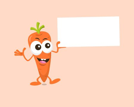 Carrot mascot offering something interesting with label in his hand isolated on light background. Flat design style for your mascot branding.