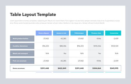 Modern business table layout template with total sum row and place for your content. Flat design, easy to use for your website or presentation.