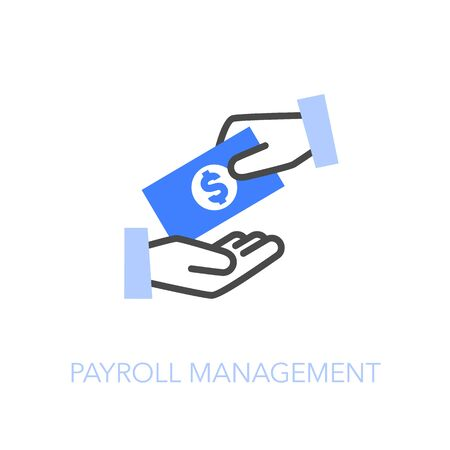 Payroll management symbol with two hands and money. Easy to use for your website or presentation. Stock Illustratie