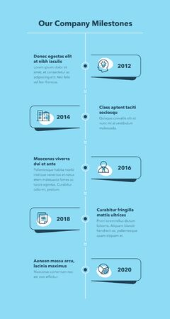 Simple business infographic for company milestones timeline template - blue version. Easy to use for your website or presentation. Vecteurs