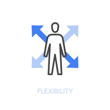 Flexibility at work symbol with a human figure and four directions. Easy to use for your website or presentation.