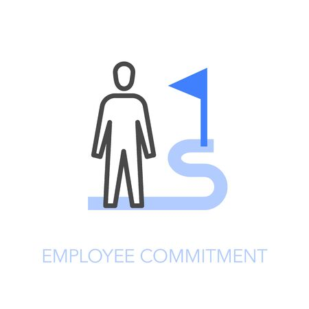 Employee commitment symbol with a human figure connected to an organization goal. Easy to use for your website or presentation.