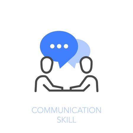 Communication skills symbol with two people in dialogue. Easy to use for your website or presentation.