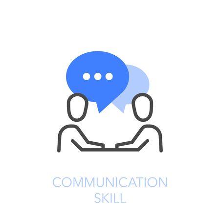 Symbole de compétences en communication avec deux personnes en dialogue. Facile à utiliser pour votre site Web ou votre présentation.