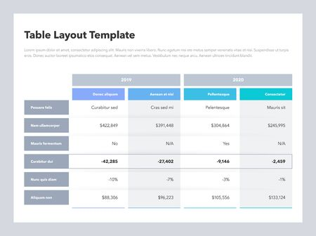 Modern business advanced table layout template with place for your content. Flat design, easy to use for your website or presentation.
