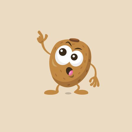 Illustration of cute staring kiwi mascot isolated on light background. Flat design style for your mascot branding.