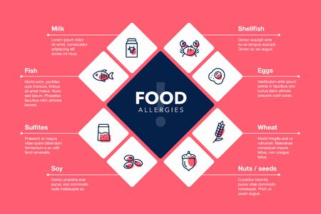 Modern infographic template for food allergies with line icons - red version. Easy to use for your design or presentation.