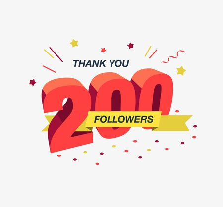 Thank you 200 social media followers, modern flat banner. Easy to use for your website or presentation.