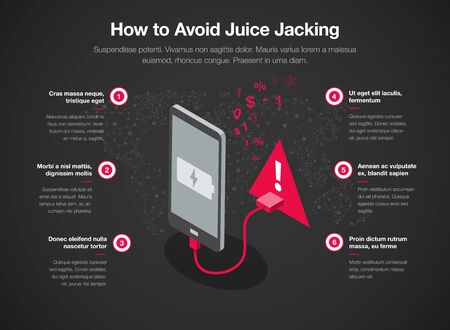 Simple infographic template for how to avoid juice jacking, isolated on light background. Easy to use for your website or presentation.