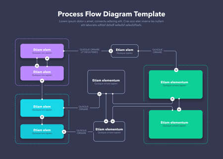 Modern Process Flow Diagram layout template - dark version. Flat design, easy to use for your website or presentation. Ilustracje wektorowe