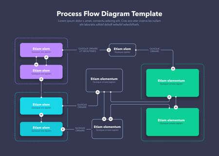 Modern Process Flow Diagram layout template - dark version. Flat design, easy to use for your website or presentation. Vektorové ilustrace