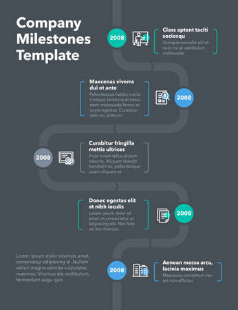 Modern company milestones timeline template - dark version. Easy to use for your website or presentation.