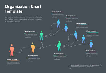 Company organization chart template with place for your content - dark version. Easy to use for your website or presentation. Vector Illustration