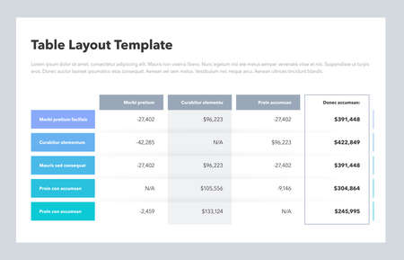 Modern business table layout template with the total sum column and place for your content. Flat design, easy to use for your website or presentation. 矢量图像