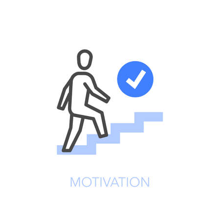 Motivation symbol with a person walking up the stairs to his goal. Easy to use for your website or presentation. Vettoriali
