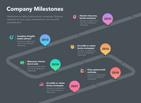 Simple business infographic for company milestones timeline template - dark version. Easy to use for your website or presentation. Ilustración de vector