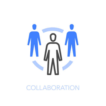 Collaboration symbol with a group of people on a work cycle. Easy to use for your website or presentation.