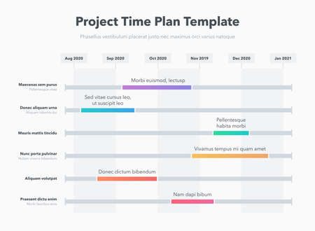 Simple business project time plan template with colorful project tasks in time intervals. Easy to use for your website or presentation. Ilustração