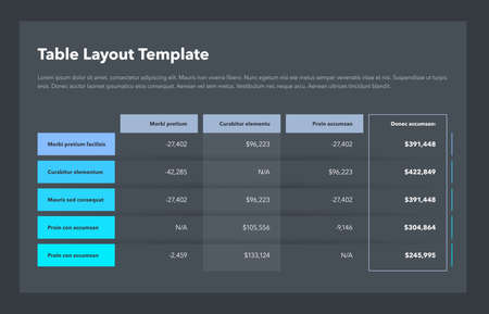 Modern business table layout template with the total sum column and place for your content - dark version. Flat design, easy to use for your website or presentation.