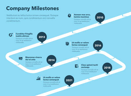 Simple business infographic for company milestones timeline template - blue version. Easy to use for your website or presentation.
