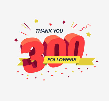 Thank you 300 social media followers, modern flat banner. Easy to use for your website or presentation. Stock fotó - 155368562
