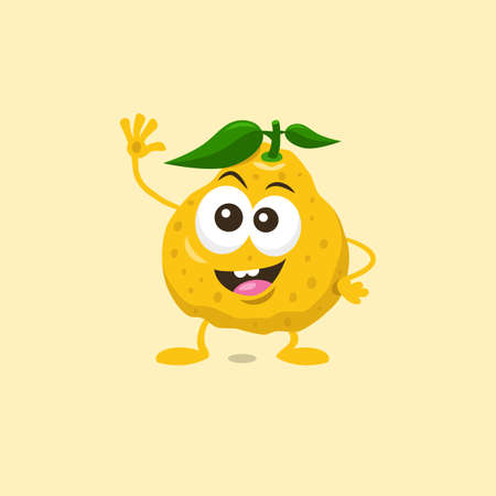 Illustration of cute happy ugli fruit mascot greeting someone with big smile isolated on light background. Flat design style for your mascot branding.
