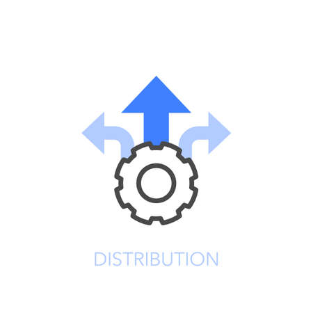 Distribution symbol with a cogwheel and direction indicators. Easy to use for your website or presentation.