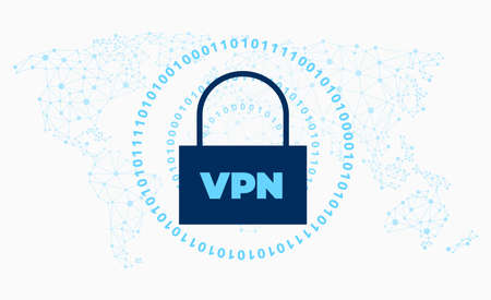 VPN network security symbol with a padlock and binary data. Easy to use for your website or presentation. Иллюстрация