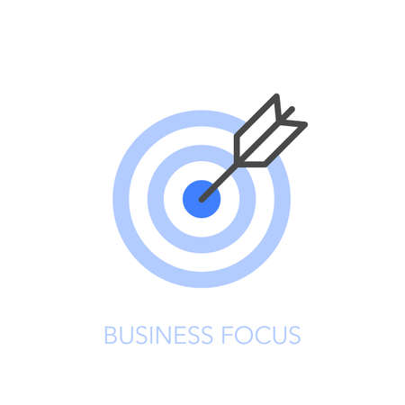Business focus symbol with target and arrow in the center. Easy to use for your website or presentation.