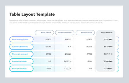 Modern business table layout template with the total sum column and place for your content. Flat design, easy to use for your website or presentation.