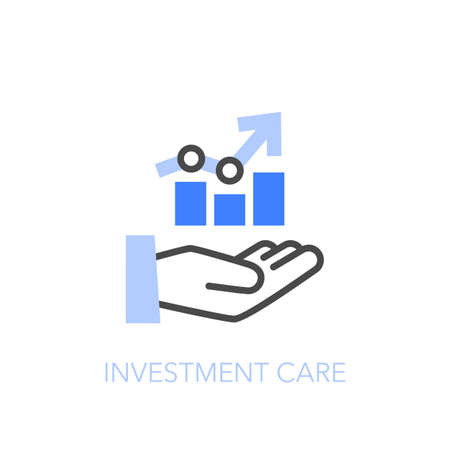 Investment care symbol with a humand hand and a growing data chart. Easy to use for your website or presentation.