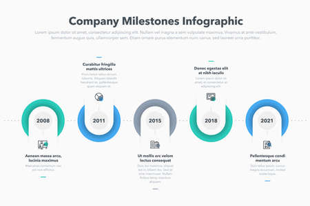 Modern company milestones timeline template. Easy to use for your website or presentation.