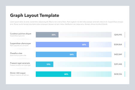 Statistics column horizontal graph layout template with place for your content. Flat design, easy to use for your website or presentation.  イラスト・ベクター素材