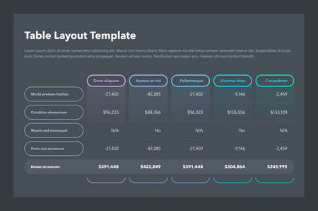 Modern business table layout template with the total sum row and place for your content - dark version. Flat design, easy to use for your website or presentation.
