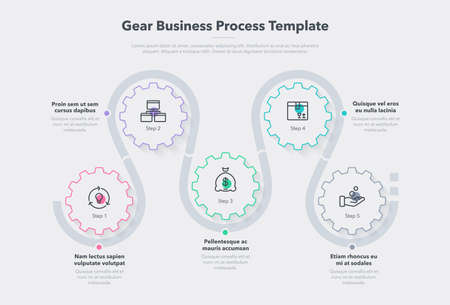 Modern gear business process template with 5 steps. Easy to use for your website or presentation.