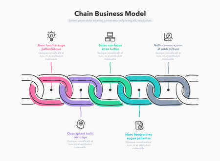 Hand drawn infographic for chain business model with 5 process steps. Flat design, easy to use for your website or presentation.