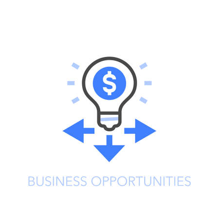 Business opportunities symbol with a light bulb and direction indicators. Easy to use for your website or presentation.