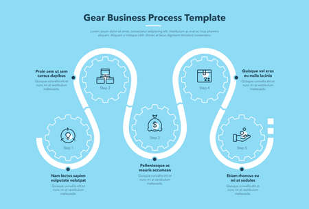 Modern gear business process template with 5 steps - blue version. Easy to use for your website or presentation.